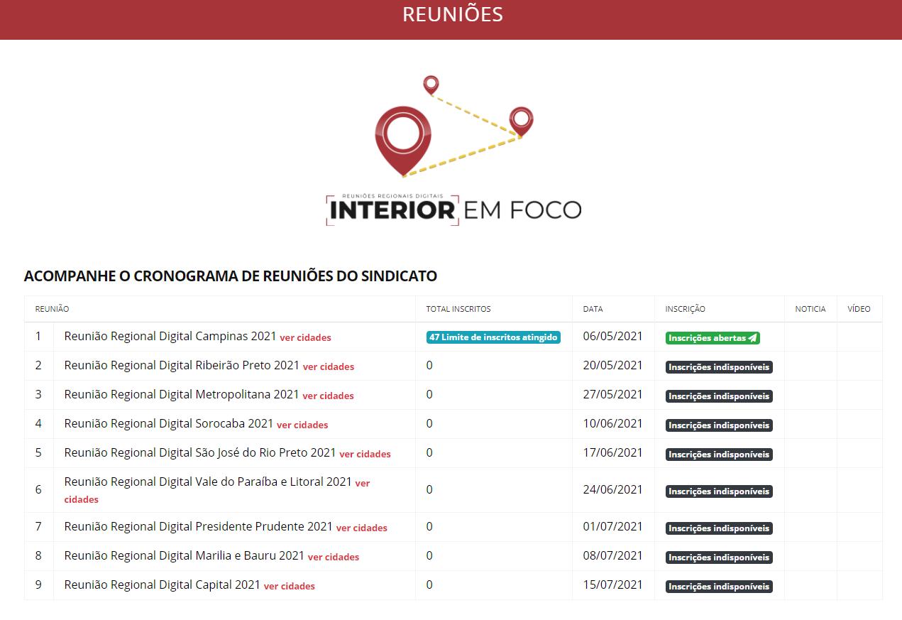 Interior em foco: Retomada das reuniões regionais digitais